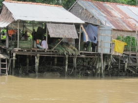 In the Mekong Delta, family firms pre-construct the roofs and transport them to the location by boat.