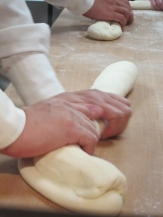Rolling the dim sum dough